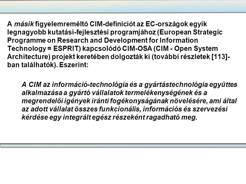 A másik figyelemreméltó CIM-definíciót az EC-országok egyik legnagyobb kutatási-fejlesztési programjához (European Strategic Programme on Research and Development for Information Technology = ESPRIT) kapcsolódó CIM-OSA (CIM - Open System Architecture) projekt keretében dolgozták ki (további részletek [113]-ban találhatók). Eszerint: